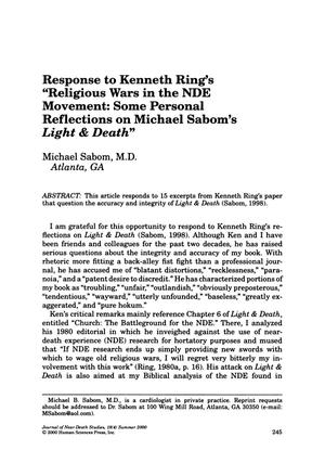 "Primary view of object titled 'Response to Kenneth Ring's ""Religious Wars in the NDE Movement: Some Personal Reflections on Michael Sabom's Light & Death""'."