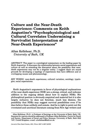 "Primary view of object titled 'Culture and the Near-Death Experience: Comments on Keith Augustine's ""Psychophysiological and Cultural Correlates Undermining a Survivalist Interpretation of Near-Death Experiences""'."