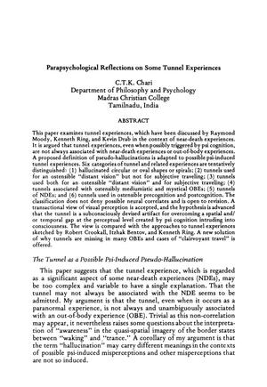 Primary view of object titled 'Parapsychological Reflections on Some Tunnel Experiences'.
