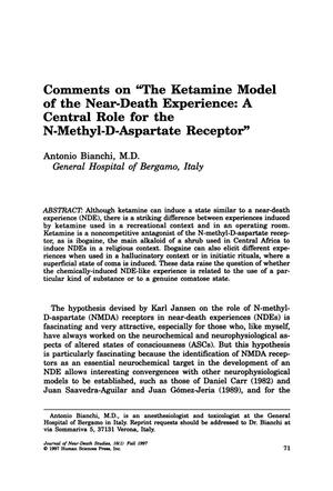"Primary view of object titled 'Comments on ""The Ketamine Model of the Near-Death Experience: A Central Role for the N-Methyl-D-Aspartate Receptor""'."