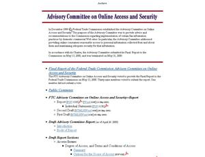 Primary view of object titled 'Advisory Committee on Online Privacy and Security'.