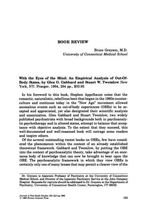 Primary view of object titled 'Book Review: With the Eyes of the Mind: An Empirical Analysis of Out-Of-Body States'.