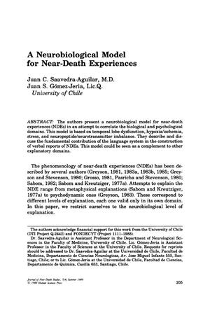 Primary view of object titled 'A Neurobiological Model for Near-Death Experiences'.