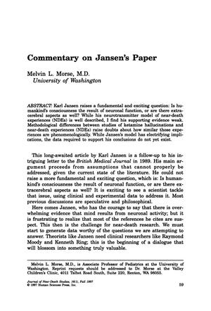 Primary view of object titled 'Commentary on Jansen's Paper'.