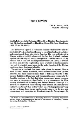 Primary view of object titled 'Book Review: Death, Intermediate State, and Rebirth in Tibetan Buddhism'.