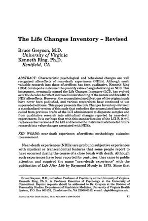 Primary view of object titled 'The Life Changes Inventory - Revised'.