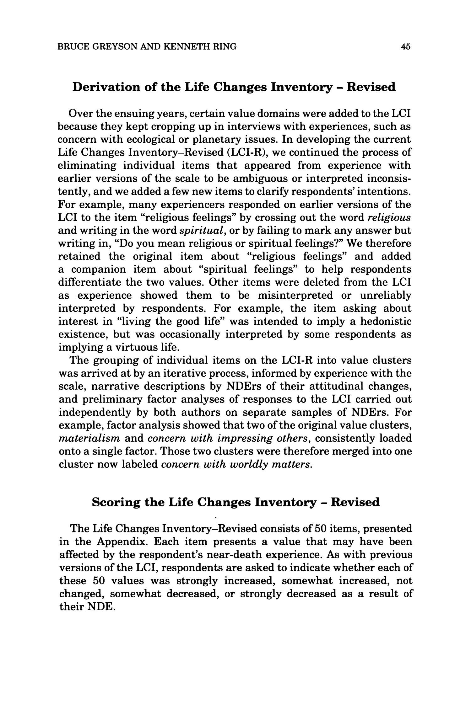The Life Changes Inventory - Revised                                                                                                      45