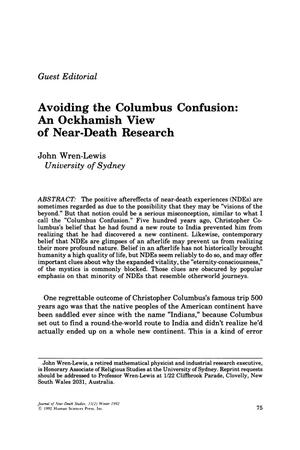 Primary view of object titled 'Guest Editorial: Avoiding the Columbus Confusion: An Ockhamish View of Near-Death Research'.