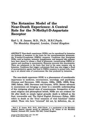Primary view of object titled 'The Ketamine Model of the Near-Death Experience: A Central Role for the N-Methyl-D-Aspartate Receptor'.