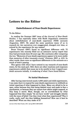 Primary view of object titled 'Letters to the Editor: Embellishment of Near-Death Experiences'.