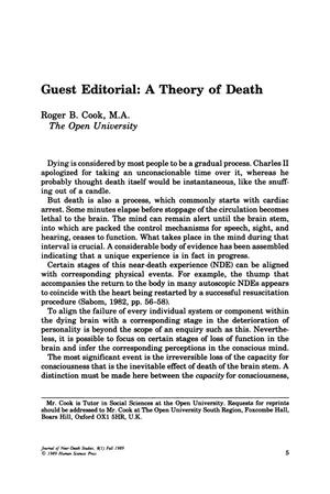 Primary view of object titled 'Guest Editorial: A Theory of Death'.