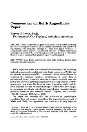 Primary view of object titled 'Commentary on Keith Augustine's Paper'.