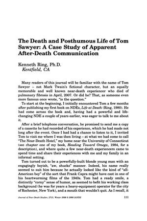 Primary view of object titled 'The Death and Posthumous Life of Tom Sawyer: A Case Study of Apparent After-Death Communication'.