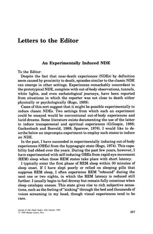 Primary view of object titled 'Letters to the Editor: An Experimentally Induced NDE'.