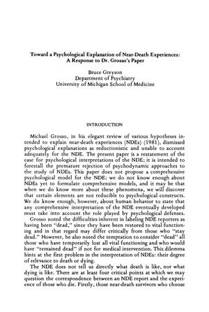 Primary view of object titled 'Toward a Psychological Explanation of Near-Death Experiences: A Response to Dr. Grosso's Paper'.