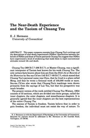Primary view of object titled 'The Near-Death Experience and the Taoism of Chuang Tzu'.