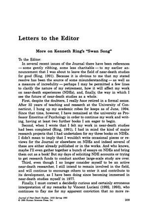"Primary view of object titled 'Letters to the Editor: More on Kenneth Ring's ""Swan Song"" [#1]'."