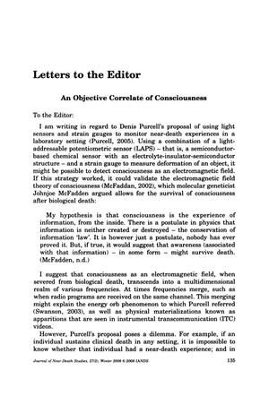 Primary view of object titled 'Letters to the Editor: An Objective Correlate of Consciousness'.