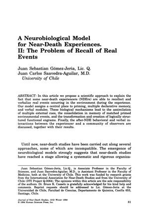 Primary view of object titled 'A Neurobiological Model for Near-Death Experiences. II: The Problem of Recall of Real Events'.