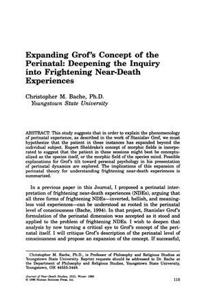 Primary view of object titled 'Expanding Grof's Concept of the Perinatal: Deepening the Inquiry into Frightening Near-Death Experiences'.