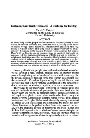 Primary view of object titled 'Evaluating Near-Death Testimony: A Challenge for Theology'.