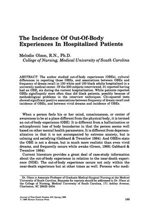 Primary view of object titled 'The Incidence of Out-Of-Body Experiences in Hospitalized Patients'.