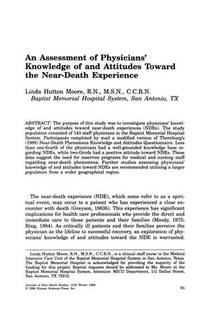 Primary view of object titled 'An Assessment of Physicians' Knowledge of and Attitudes Toward the Near-Death Experience'.