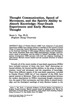 Primary view of object titled 'Thought Communication, Speed of Movement, and the Spirit's Ability to Absorb Knowledge: Near-Death Experiences and Early Mormon Thought'.