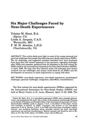 Primary view of object titled 'Six Major Challenges Faced by Near-Death Experiencers'.