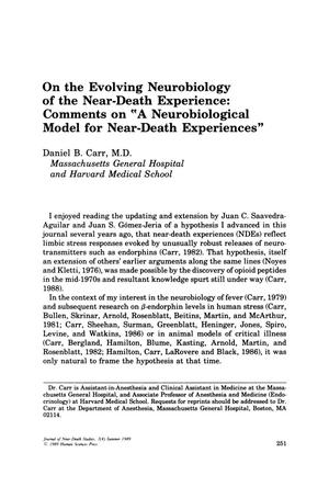 "Primary view of object titled 'Comments on ""A Neurobiological Model for Near-Death Experiences""'."