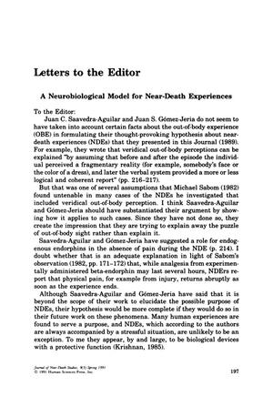Primary view of object titled 'Letter to the Editor: A Neurobiological Model for Near-Death Experiences'.