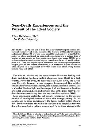 Primary view of object titled 'Near-Death Experiences and the Pursuit of the Ideal Society'.