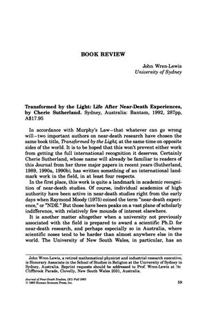 Primary view of object titled 'Book Review: Transformed by the Light: Life After Near-Death Experiences'.