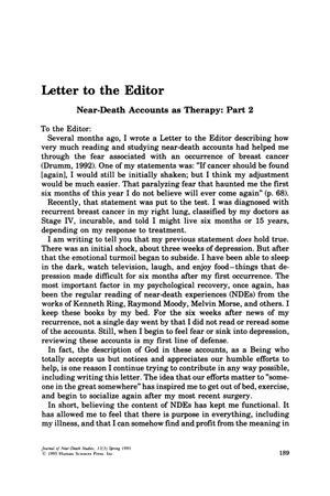Primary view of object titled 'Letter to the Editor: Near-Death Accounts as Therapy: Part 2'.