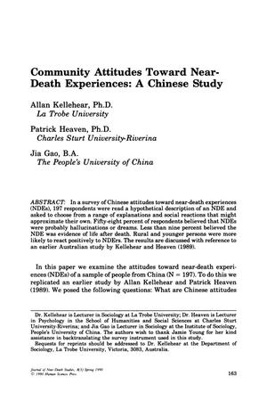 Primary view of object titled 'Community Attitudes Toward Near-Death Experiences: A Chinese Study'.