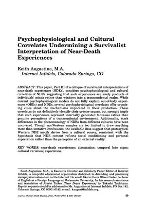 Primary view of object titled 'Psychophysiological and Cultural Correlates Undermining a Survivalist Interpretation of Near-Death Experiences'.