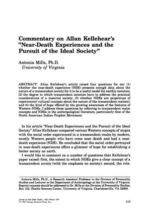 "Primary view of object titled 'Commentary on Allan Kellehear's ""Near-Death Experiences and the Pursuit of the Ideal Society""'."