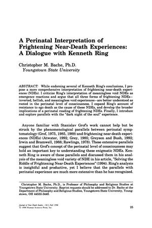 Primary view of object titled 'A Perinatal Interpretation of Frightening Near-Death Experiences: A Dialogue with Kenneth Ring'.