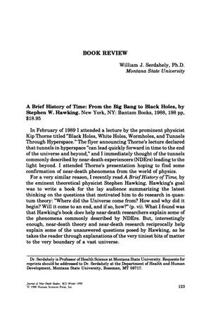 Primary view of object titled 'Book Review: A Brief History of Time: From the Big Bang to Black Holes'.