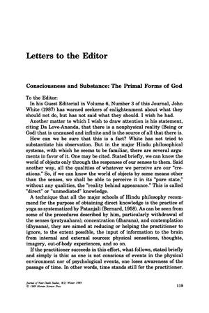 Primary view of object titled 'Letters to the Editor: Consciousness and Substance: The Primal Forms of God'.