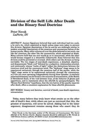 Primary view of object titled 'Division of the Self: Life After Death and the Binary Soul Doctrine'.