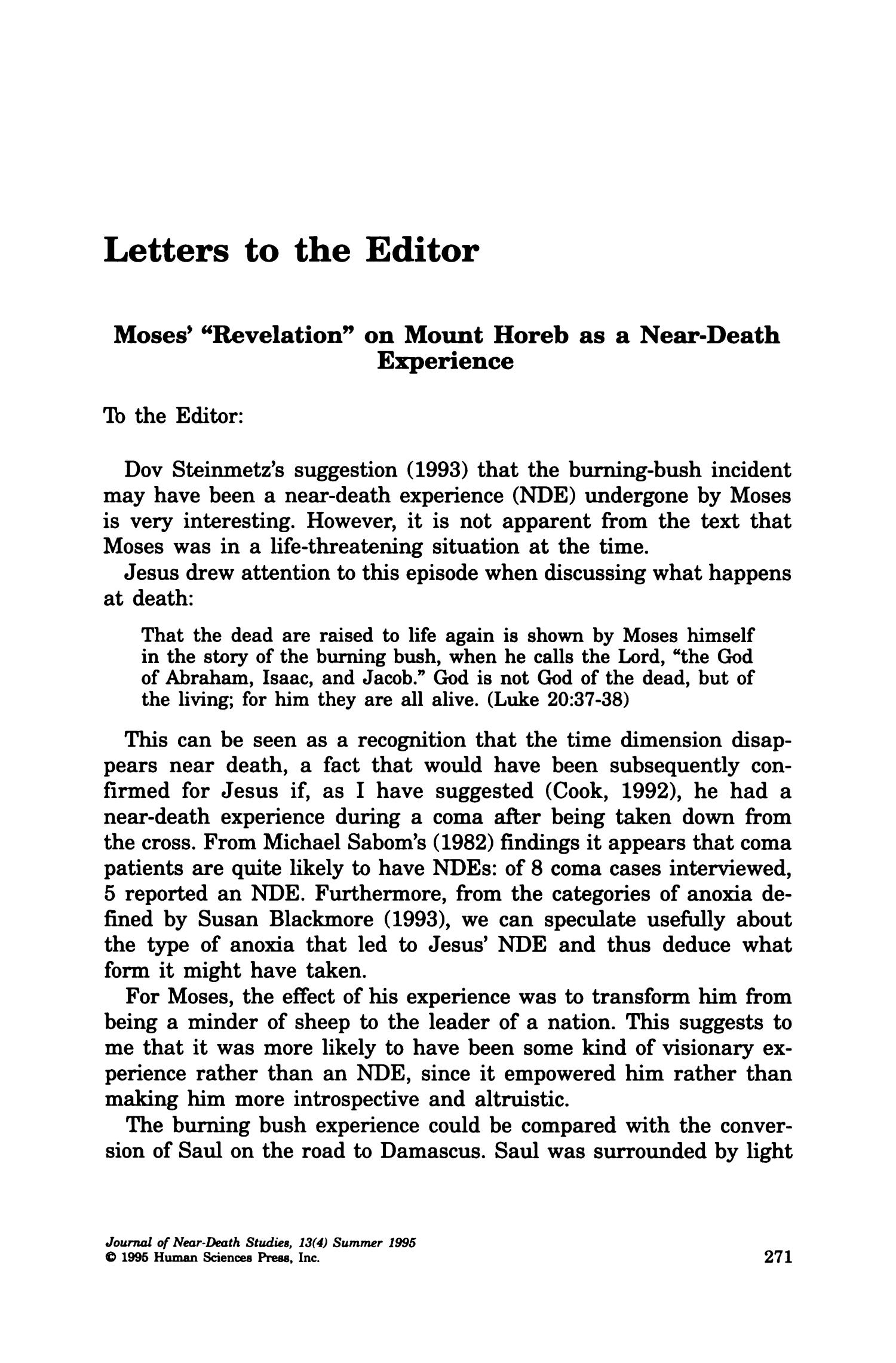 letters to the editor  moses u0026 39   u0026quot revelation u0026quot  on mount horeb