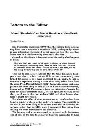 "Primary view of object titled 'Letters to the Editor: Moses' ""Revelation"" on Mount Horeb as Near-Death Experience'."