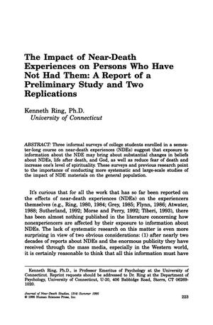 Primary view of object titled 'The Impact of Near-Death Experiences on Persons Who Have Not Had Them: A Report of a Preliminary Study and Two Replications'.