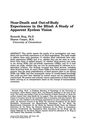 Primary view of object titled 'Near-Death and Out-of-Body Experiences in the Blind: A Study of Apparent Eyeless Vision'.