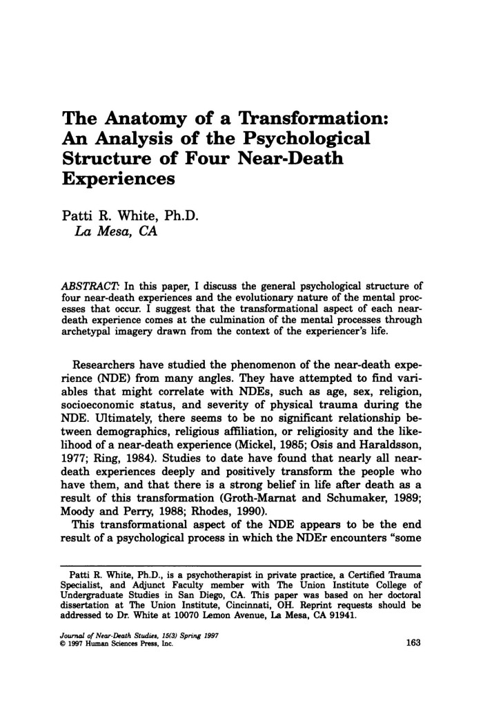 The Anatomy of a Transformation: An Analysis of the Psychological ...