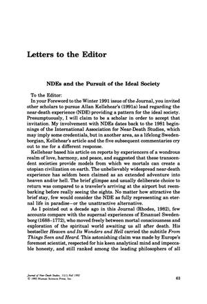 Primary view of object titled 'Letters to the Editor: NDEs and the Pursuit of the Ideal Society'.