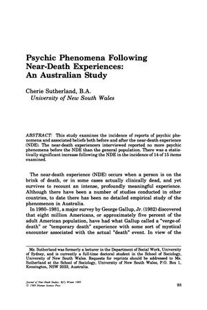 Primary view of object titled 'Psychic Phenomena Following Near-Death Experiences: An Australian Study'.