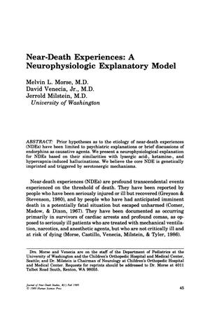 Primary view of object titled 'Near-Death Experiences: A Neurophysiological Explanatory Model'.