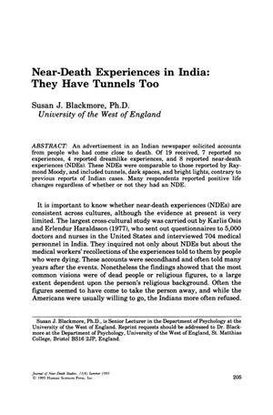 Primary view of object titled 'Near-Death Experiences in India: They Have Tunnels Too'.